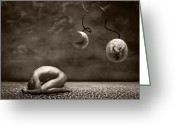 Dark Brown Greeting Cards - Emptiness Greeting Card by Photodream Art