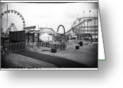 Wooden Coaster Greeting Cards - Empty Funtown Greeting Card by John Rizzuto