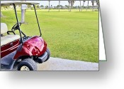 Golf Green Greeting Cards - Empty Golf Cart on a Golf Course Greeting Card by Skip Nall