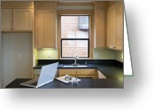 Cupboards Greeting Cards - Empty Kitchen With Laptop Greeting Card by Andersen Ross