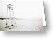 Sand And Sea Greeting Cards - Empty Life Guard Tower 1 Greeting Card by Skip Nall