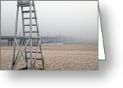 Panama City Beach Greeting Cards - Empty Lifeguard Chair Greeting Card by Skip Nall