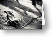 Empty Park Bench Greeting Cards - Empty Park Bench On Edge Greeting Card by (c) Conrado Tramontini