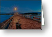 Paradise Pier Greeting Cards - Empty Pier Glow Greeting Card by Connie Cooper-Edwards