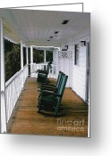 Rocking Chairs Greeting Cards - Empty Retirement Greeting Card by Methune Hively