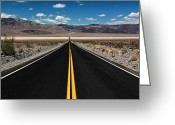 Double Yellow Line Greeting Cards - Empty Road Greeting Card by David Toussaint