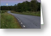 Full Moon Greeting Cards - Empty Road In Countryside Landscape Greeting Card by Jens Ceder Photography