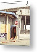 Construction Yard Greeting Cards - Empty Security Guard Shack Greeting Card by Eddy Joaquim