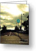 Signal Photo Greeting Cards - Empty Street Greeting Card by David Cucalon