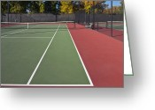 Horizontal Lines Greeting Cards - Empty Tennis Court Greeting Card by Thom Gourley/Flatbread Images, LLC
