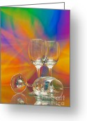 Black Glass Art Greeting Cards - Empty Wine Glass Greeting Card by Anuwat Ratsamerat