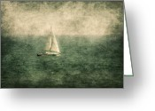 Bay Mixed Media Greeting Cards - Empty Yacht  Greeting Card by Svetlana Sewell