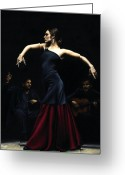 Red Dress Painting Greeting Cards - Encantado por Flamenco Greeting Card by Richard Young
