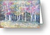 Giclee Pastels Greeting Cards - Enchanced Tree Pageant Greeting Card by Penny Neimiller