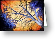 Orange Prints Greeting Cards - Enchanted Forest Greeting Card by Alex Tavshunsky