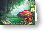 Illustration Greeting Cards - Enchanted Forest Greeting Card by Philip Straub