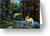 Unicorn Art Greeting Cards - Enchanted Forest Greeting Card by Steve Roberts