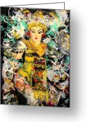 Traditional Glass Art Greeting Cards - Enchanted Legong Dancer of Bali Greeting Card by Ferril Nawir