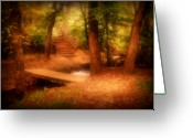 Foot Bridge Greeting Cards - Enchanted Path - Allaire State Park Greeting Card by Angie McKenzie