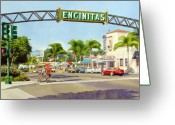California Painting Greeting Cards - Encinitas California Greeting Card by Mary Helmreich