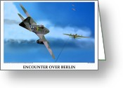 American Airmen Greeting Cards - Encounter Over Berlin Greeting Card by Jerry Taliaferro