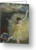 Bowing Greeting Cards - End of an Arabesque Greeting Card by Edgar Degas