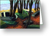 Fall Scene Greeting Cards - End of Summer Greeting Card by Ethel Vrana