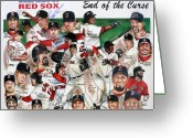 Red Sox Baseball Greeting Cards - End Of The Curse Red Sox newspaper poster Greeting Card by Dave Olsen