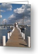 Martha Greeting Cards - End of the Dock Greeting Card by Richard Mansfield