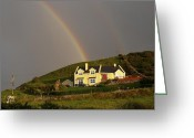 Fence Digital Art Greeting Cards - End of the Rainbow Greeting Card by Mike McGlothlen