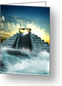 Mayan Mythology Greeting Cards - End Of The World In 2012 Conceptual Image Greeting Card by Victor Habbick Visions