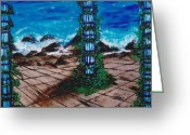 Color Image Painting Greeting Cards - End of the World Greeting Card by Suzanne Thomas