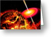 Accretion Discs Greeting Cards - End Of The World The Earth Destroyed Greeting Card by Ron Miller
