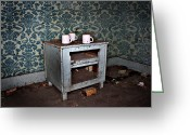 Rural Decay Prints Greeting Cards - End Table Greeting Card by Larysa Luciw