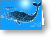 Sea Life Mixed Media Greeting Cards - Endangered Gray Whales Greeting Card by Nick Gustafson