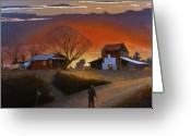 Sunset Scenes. Painting Greeting Cards - Endurance Greeting Card by Doug Strickland