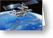Roberto Greeting Cards - Eneide Mission To The Iss, Artwork Greeting Card by David Ducros