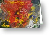 Pouring Greeting Cards - Energy of Creation Greeting Card by Georgeta  Blanaru
