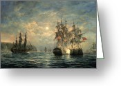 Bay Painting Greeting Cards - Engagement Between the Bonhomme Richard and the  Serapis off Flamborough Head Greeting Card by Richard Willis