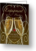 Formal Mixed Media Greeting Cards - Engagement Party Card Greeting Card by Debra     Vatalaro