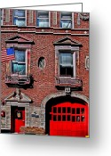 Charlestown Greeting Cards - Engine 50 - Boston Greeting Card by DJ Florek