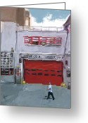 Baseball Mixed Media Greeting Cards - Engine Co. 16 Greeting Card by Russell Pierce