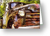 Antique Cars Greeting Cards - Engine Room Greeting Card by Tom Griffithe