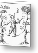 Tightrope Greeting Cards - ENGLAND: ACROBAT, c1750 Greeting Card by Granger