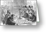 Chessman Greeting Cards - England: Chess Match Greeting Card by Granger