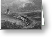 1833 Greeting Cards - England: Coursing, 1833 Greeting Card by Granger