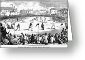 1842 Greeting Cards - England: Cricket, 1842 Greeting Card by Granger