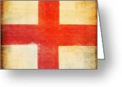 Rust Greeting Cards - England flag Greeting Card by Setsiri Silapasuwanchai