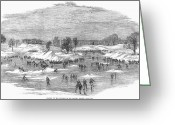 Ice Skater Greeting Cards - England: Ice Skating, 1855 Greeting Card by Granger