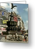 Eros Statue Greeting Cards - England: London Greeting Card by Granger